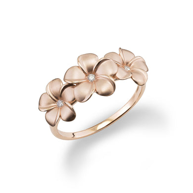 Triple Plumeria Ring with Diamond in 14K Rose Gold - 9-10mm
