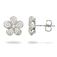 画像をギャラリービューアに読み込む, Plumeria Pendant and Earrings with Diamonds in 14K White Gold Set