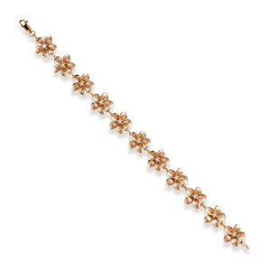 Plumeria Bracelet with Diamonds in 14K Rose Gold - 13mm