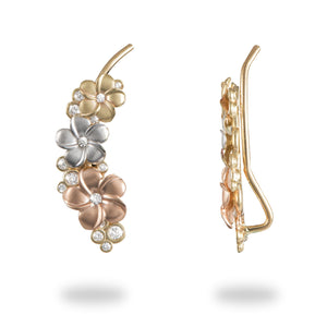 Plumeria Earrings with Diamonds in 14K Yellow, Rose and White Gold