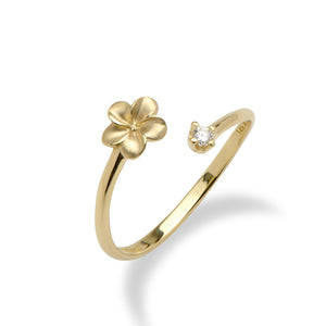 Plumeria Bypass Ring with Diamond in 14K Yellow Gold