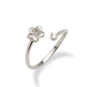 Plumeria Bypass Ring with Diamond in 14K White Gold