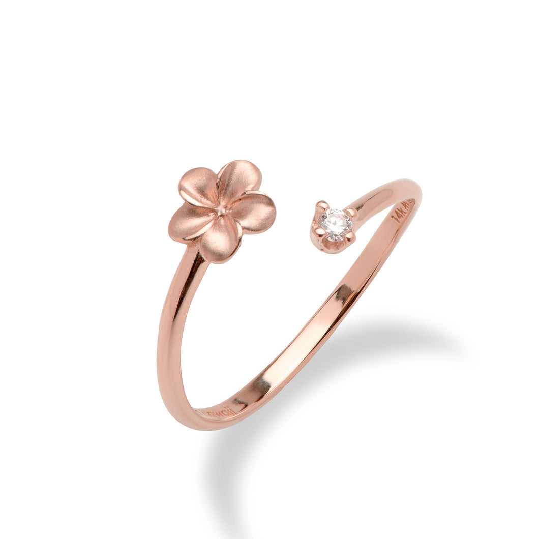Plumeria Bypass Ring with Diamond in 14K Rose Gold