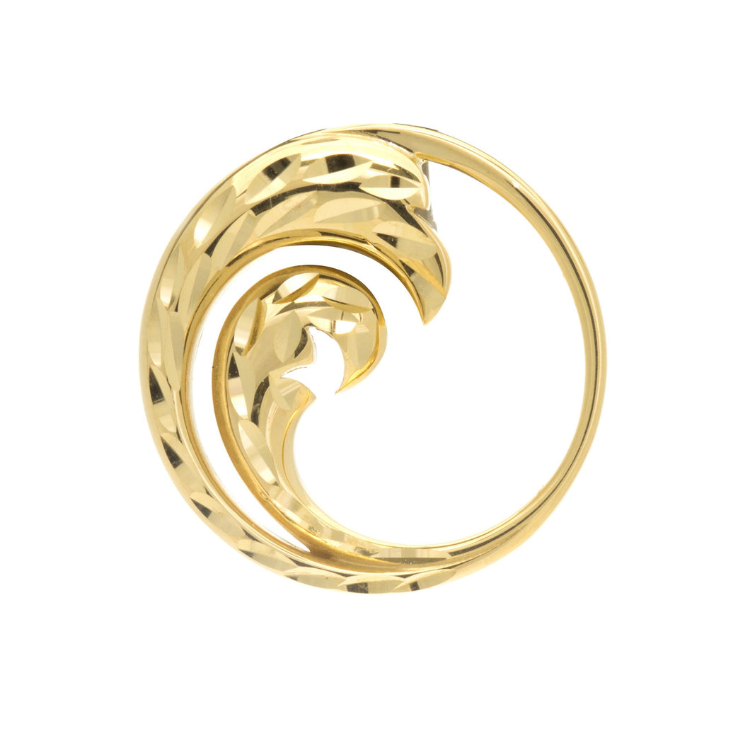 NALU DOUBLE WAVE NECKLACE PENDANT IN 14K YELLOW GOLD - 18MM