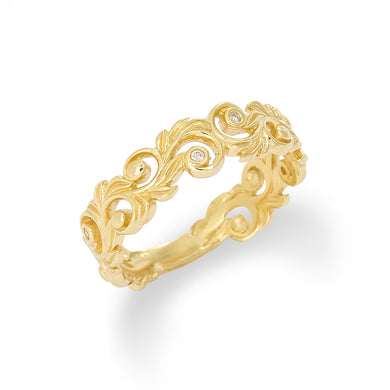 HAWAIIAN HEIRLOOM 6MM RING WITH DIAMONDS IN 14K YELLOW GOLD