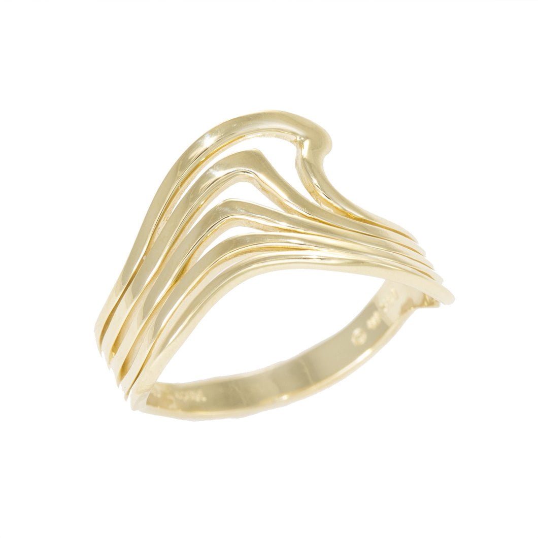 NALU ABSTRACT WAVE LINES RING IN 14K YELLOW GOLD