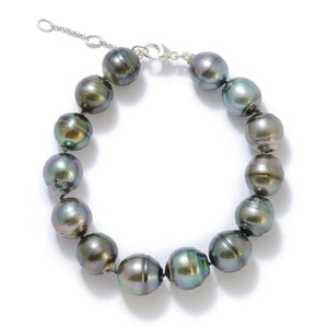 Adjustable Tahitian Black Pearls Bracelet in Sterling Silver (8-14mm)
