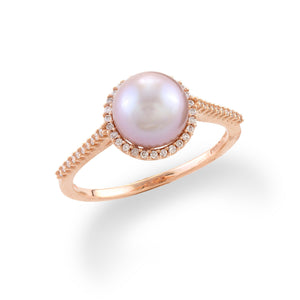 Halo Freshwater Pearl Ring with Diamonds in 14K Rose Gold (7-8mm)