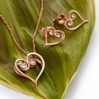 Living Love Necklace & Earrings in 14K Rose Gold - 15mm