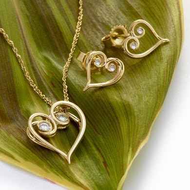 Living Love Necklace & Earrings in 14K Yellow Gold - 15mm