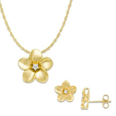Plumeria Pendant and Earrings with Diamonds in 14K Yellow Gold Set
