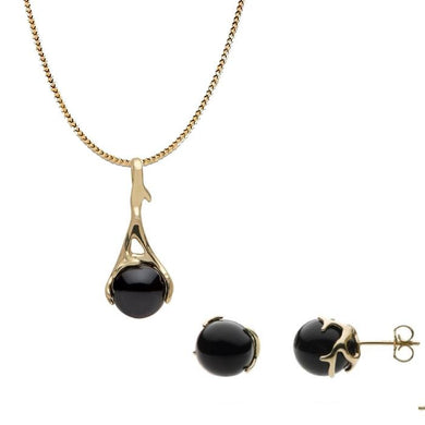 Hawaiian Heritage Black Coral in 14K Yellow Gold Set