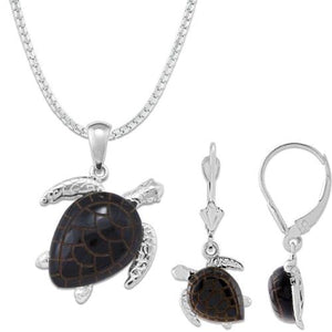 Black Coral Turtle in 14K White Gold Set | ブラックコーラル