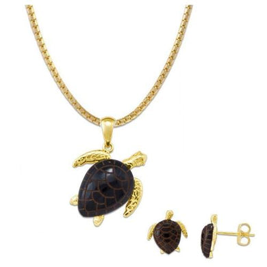 Black Coral Turtle in 14K Yellow Gold Set