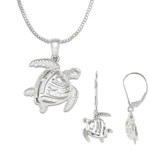 Honu Turtle Necklace and Earrings in Sterling Silver Set
