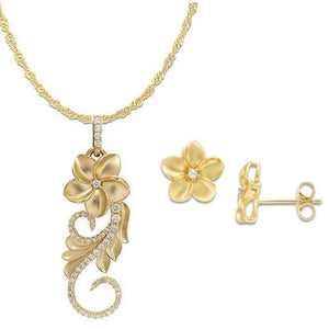 Hawaiian Heirloom Plumeria Scroll in 14K Yellow Gold Set