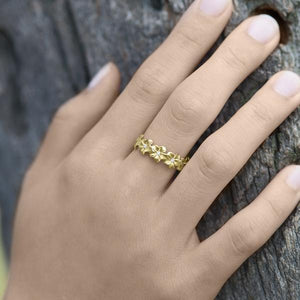 Hawaiian Heirloom Plumeria 6mm Ring in 14K Yellow Gold