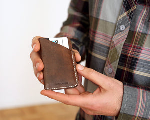 Minimal Card Holder - Forest Green - Foxtail Goods [handmade leather and waxed canvas goods], [california], [camping gear], [commuting bag], [travel bag]