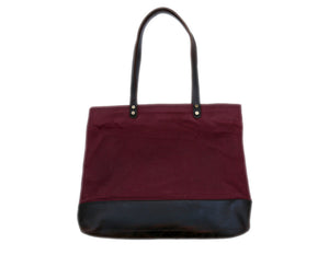 Market Tote in Wine - Foxtail Goods [handmade leather and waxed canvas goods], [california], [camping gear], [commuting bag], [travel bag]