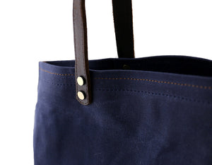 Market Tote in Navy - Foxtail Goods [handmade leather and waxed canvas goods], [california], [camping gear], [commuting bag], [travel bag]