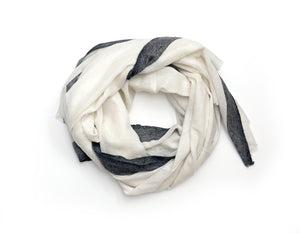 Cashmere Scarf Cream + Charcoal Strip