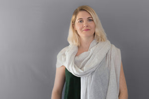 Cashmere Scarf Heathered White