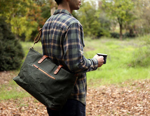 Commuter Zipper Tote - Olive - Foxtail Goods [handmade leather and waxed canvas goods], [california], [camping gear], [commuting bag], [travel bag]