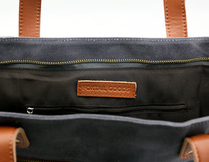 Commuter Zipper Tote - Cement - Foxtail Goods [handmade leather and waxed canvas goods], [california], [camping gear], [commuting bag], [travel bag]