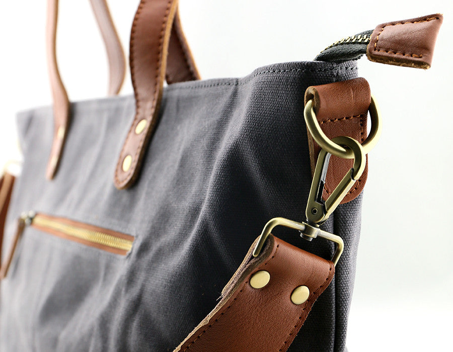 Commuter Zipper Tote - Cement - Foxtail Goods  handmade leather and waxed  canvas goods  cd6c75a5fd362