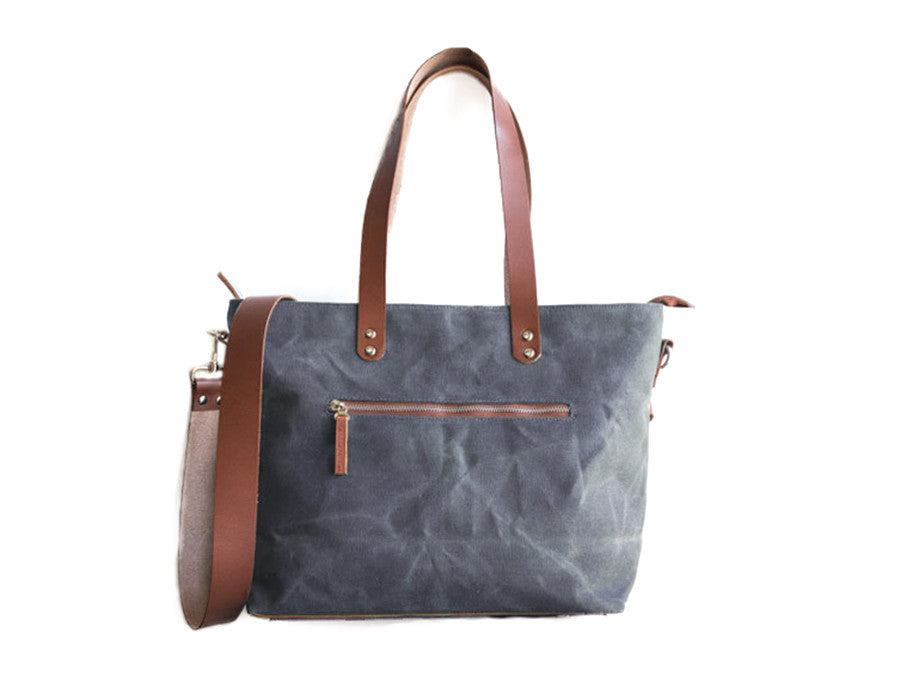 a69d0e1768d0 Commuter Zipper Tote - Cement - Foxtail Goods  handmade leather and waxed  canvas goods