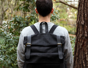 Scout Black Backpack - Foxtail Goods [handmade leather and waxed canvas goods], [california], [camping gear], [commuting bag], [travel bag]