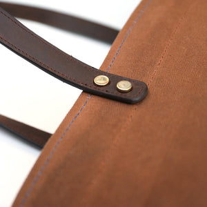 Market Tote in Tobacco - Foxtail Goods [handmade leather and waxed canvas goods], [california], [camping gear], [commuting bag], [travel bag]