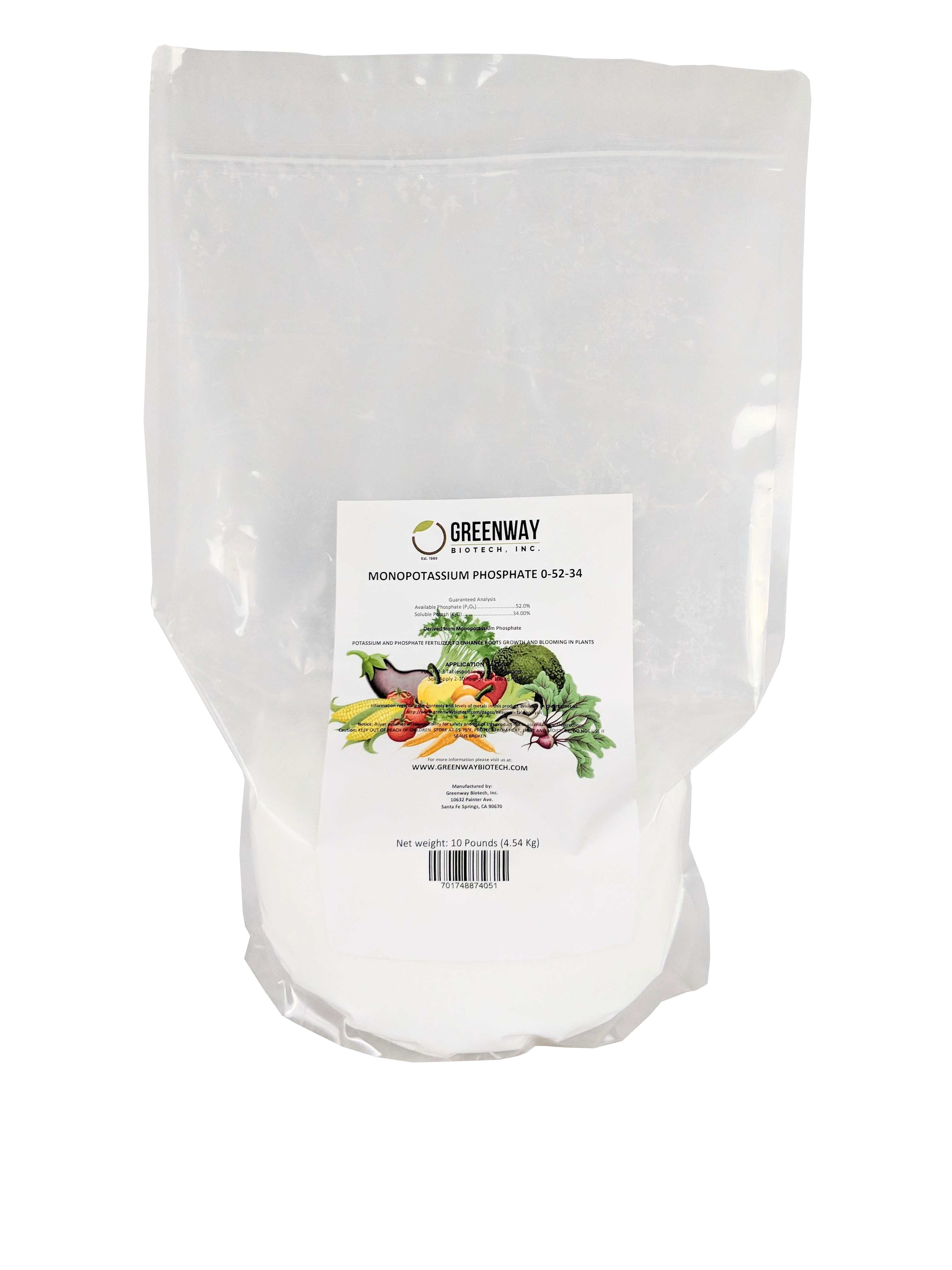 Monopotassium Phosphate Fertilizer 0-52-34 10 Pounds