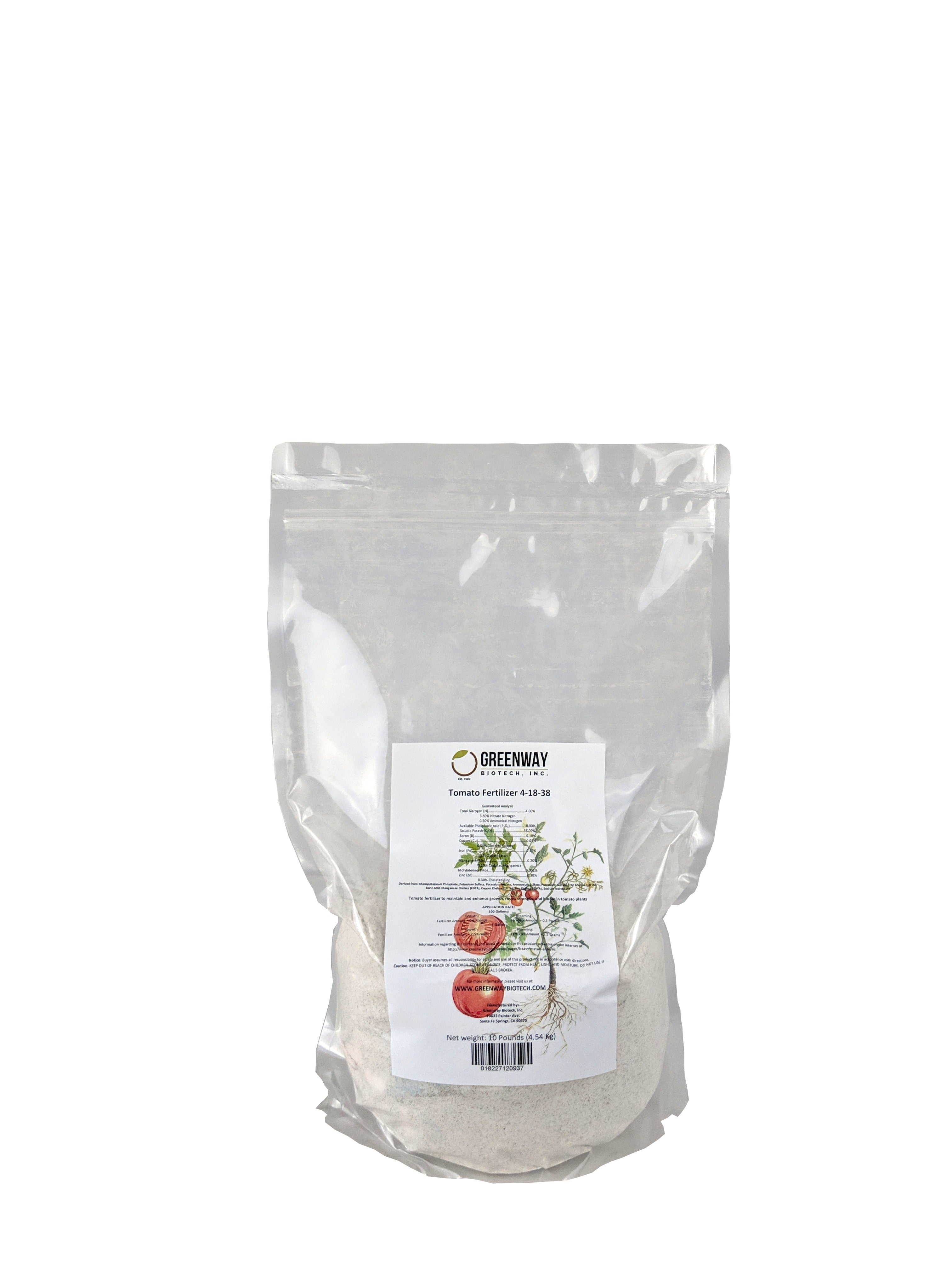 Tomato Fertilizer 4-18-38 Plus Micronutrients 100% Water Soluble 10 Pounds