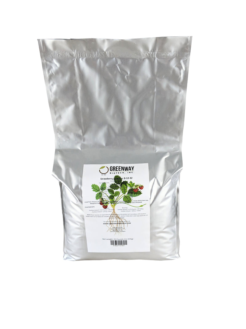 Strawberry Fertilizer 8-12-32 Plus Micronutrients 100% Water Soluble 25 Pounds