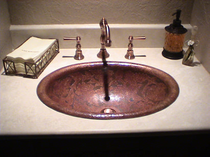 Here One Of Our Customers Installed A Distinctive Copper Bar Sink Over A  Black Granite Counter Top. The Striking Contrast Of The Copper Shiny Finish  Against ...