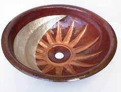 Copper Bathroom Sink w/ Sun & Moon Design