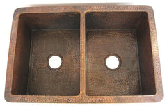 Double bowl copper kitchen sink CS-0165