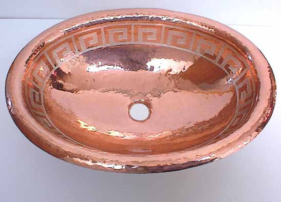 Oval Copper Bathroom Sinks in Silver Aztec Design