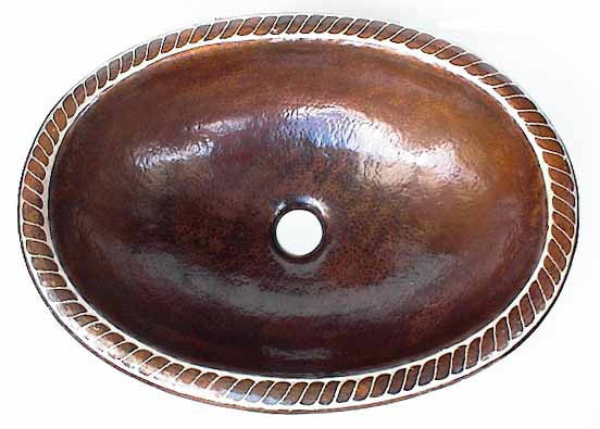 Oval Copper Bathroom Sink Design in Silver