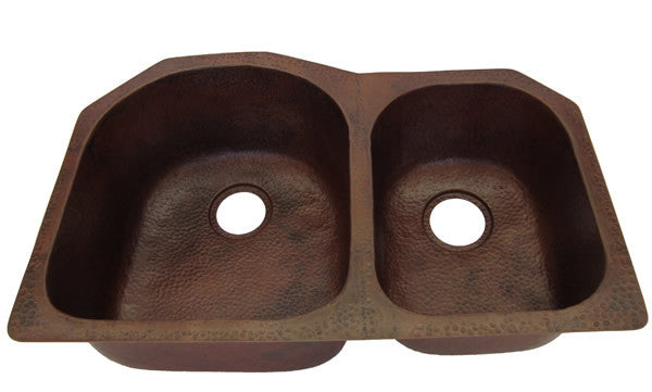 Double bowl copper sink CS-0174