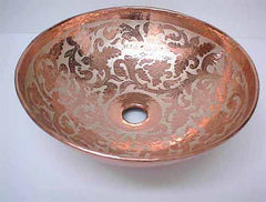Copper Bathroom Sink w/ Floral Design