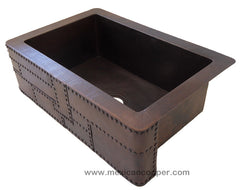 Copper Farmhouse sink with rivets CS-0180