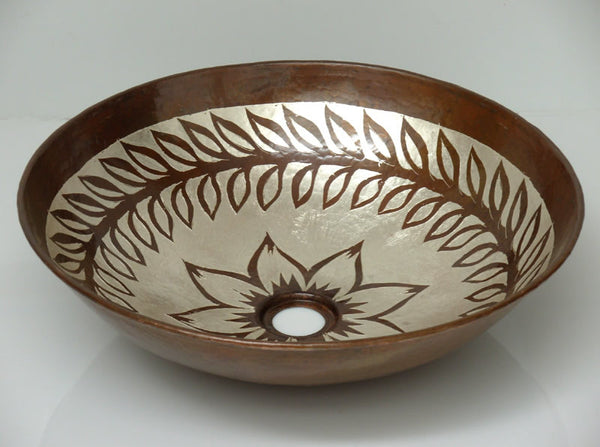 Vessel Copper sink  with silver Model CS-0139