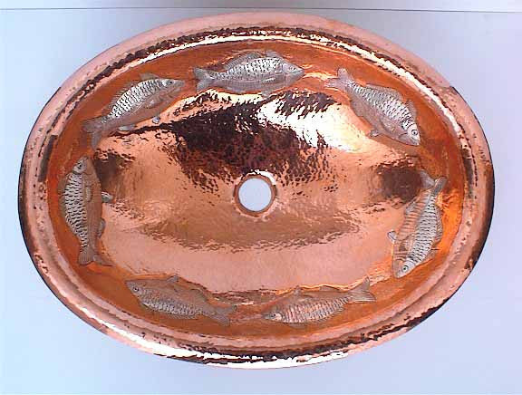 Copper Bathroom Sinks w/ Fish