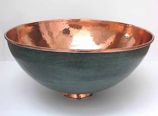 Above Counter Copper Copper Vessel Sink Green Patina