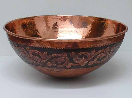 Vessel Copper Bathroom sink Vine Engraving CS0121