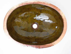 Oval Copper Bathroom Sink w/ Old Green Finish