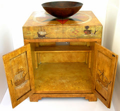 Old world map painted chest vanity Model CM-0004
