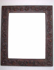 Copper mirror frame with embossed floral design